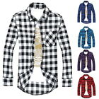 Fashion Mens' Casual Shirts Plaid All- Long-Sleeved Slim Fit Shirts Tops