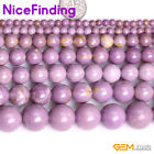 "Natural Round Purple Phosphosiderite Stone Beads For Jewelry Making Strand 15""NF"