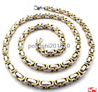 18-36inch 8mm Mens Boys Chain Gold Silver Byzantine Box Stainless Steel Necklace