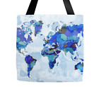 Tote bag All over print Design 105 World Map blue Earth continents L.Dumas