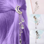 Retro Hair Clip Moon Rhinestone Tassel Beads Hairpin Women Jewelry Clever