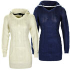 Oversized Hooded Cable Knit Long Sleeve Jumper Sweater Tunic Dress Top Size  ...