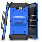 For Samsung Galaxy J7 2017 Belt Clip Holster Kickstand Case Cover Tempered Glass