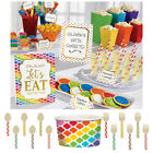RAINBOW BUFFET Birthday Party Tableware, Banners, Balloons & Decorations (1C)