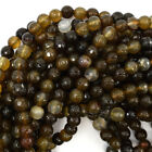 "Faceted Brown Agate Round Beads Gemstone 15"" Strand 6mm 8mm 10mm 12mm"