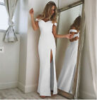UK Women Split Off Shoulder Evening Formal Party Ball Gown Prom Bridesmaid Dress