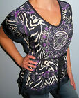 New JACLYN SMITH Purple ZEBRA Stripe Medallion DOLMAN  Box Top Belt CHOOSE S M L