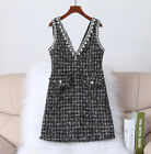 Luxury High-end Autumn Winter V Neck Tweed Pearls Decoration Party Vest Dress