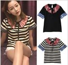 Factory Occident High-End Fashion Runway Clothes Stripe Cotton Top~Hot T-Shirts
