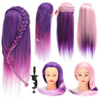 24'' Colorful Long Hair Training Head Mannequin Cut Hairdressing Model + Clamp