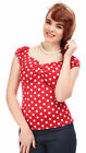Collectif DOLORES Polka Dots Punkte 50s Gypsy Vintage Bluse SHIRT Rot Rockabilly