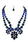 Bohemain Faceted Beads Double Layered Flower Statement Necklace & Earrings Set