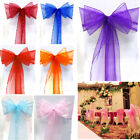 50/100X Organza Chair Cover Sash Bow Wedding Reception Banquet Decor Many Colors