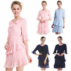 Women Lady Summer Solid Flouncing Evening Cocktail Party Mini Beach Dress O7810