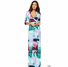 Aqua Blue Pink MAXI DRESS Geometric Color Block Faux Wrap LONG Skirt Cruise S