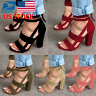 red ankle heels - Women Open Toe High Block Heels Shoes Ankle Strappy Sandals Party Lace