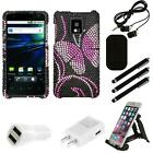 For LG Optimus G2X P990 Diamond Diamante Bling Rhinestone Case Cover Combo