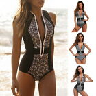 Sexy Women One Piece Swimwear Zipper Beachwear Retro Printing Swimsuit Boho Suit