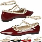 WOMENS COURT SHOES LADIES STUDDED CASUAL BUCKLE FASHION WORK LOW HEEL FLATS SIZE