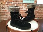 Bare Traps Linsie Black Suede Water Repellent Faux Sherling Boot New