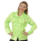 WOMENS 60s 70s DISCO RUFFLE SHIRTS ADULTS FANCY DRESS COSTUME FRILLY TOP