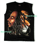 BOB MARLEY Sleeveless T-Shirt Black Sz S M L XL MUSIC GUITARIST REGGAE SKA LION