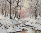 Wall Art Print Winter forest scene Oil painting Picture Printed on canvas P476