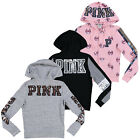 Victoria's Secret Pink Hoodie Bling Full Zip Sweatshirt Top Graphic Logo Vs New