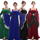 Medieval Renaissance Dress Lace Women Costume Velvet Strap Bell Sleeve Plus Size