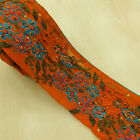 Indian Vintage Trim Orange Art Decor Border Craft Used Embroidered Sari 1YD Lace