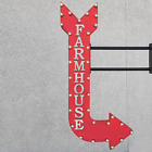 "48"" Double Sided FARMHOUSE Farm Style Metal Arrow Marquee Light Up Open Sign"
