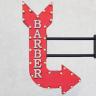 "36"" Double Sided BARBER Shave Cut Parlor Metal Arrow Marquee Light Up Open Sign"