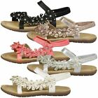 WOMENS SHOES LADIES OPEN TO SANDALS DIAMANTE FLOWER DRESSY EVENING COMFORT SIZE