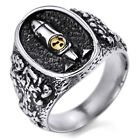 MENDINO Men's Stainless Steel Ring Nuclear Bomb Explosion Pattern Silver Black