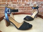 Marc Fisher Genette 3 Denim Blue & Leather Ankle Strap Sandals NEW
