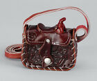 "NEW! Western Leather Saddle Change Purse, 3"" x 3 1/4"" Black Brown Burgundy/Wine"