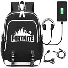 Fortnite Backpack with USB Charging Port Book Computer Phone Pad Outdoor Package