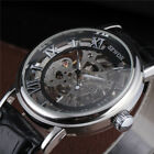 Sewor Men Leather Strap Hand Wind Mechanical Wrist Watch Silver Case Classic New