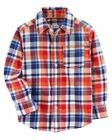 Carter'sToddler Boys' Plaid Twill Button-Front Shirt - Red/Blue NWT long sleeve