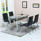 Round Glass Top Table Faux Leather Chairs  Dining Table and Chairs Set <br/> Autumn clearance promotion*Price Slashed Until 17th Oct