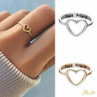 Letter Best Friends Engraved Friendship Infinity Ring Women Jewelry Gold Silver