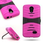 Total Protection Kickstand Rugged Hybrid Phone Cover Case for LG Lucid 3