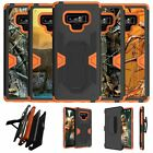 For Samsung Galaxy Note 9 SM-N960 Orange Silicone Holster and Kickstand Case