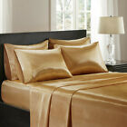3 Pieces Satin Silky Gold  Sheet Set Queen/King Size Fitted Pillows 600TC  image