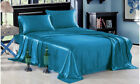 4-PC Teal  Bridal Satin Silky Sheet Set Queen/King Size Flat Fitted Pillows image