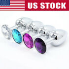Butt Toy Insert Plug Stainless Steel Metal Jeweled Plated Stopper Multi Color