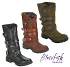 Blowfish Malibu Womens Rider Boots Side Zip Up Mid Calf Low Heel Fashion Shoes