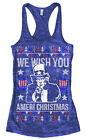 We Wish You Ameri Christmas Women's Burnout Racerback Tank Top Holiday Uncle Sam