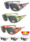 Womens Floral Print Rhinestones Fit Over POLARIZED Sunglasses Cover Rx Glasses