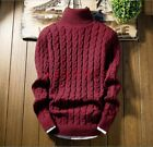 Men Coat Warm Winter High Neck Short Sweater Pull Over Knitted Solid Wool Casual